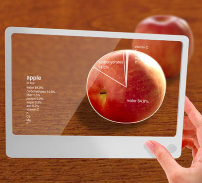 Futuristic glass integrates information services with everyday life