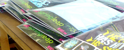 Springleap T shirts in their bags