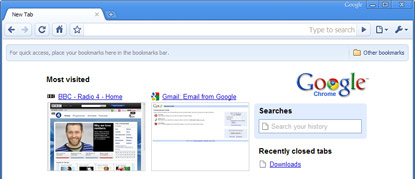 Google's Chrome web browser interface