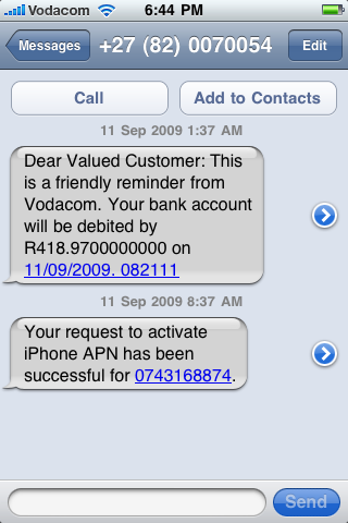 Vodacom communication - incomprehensible and inconsiderate