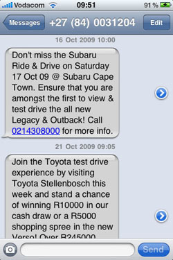 Subaru & Toyota: Spamming me with no chance to opt out