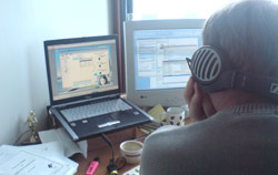 The managing director observes a usability test via a video link
