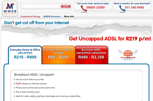 MWEB&#039;s new ADSL pages