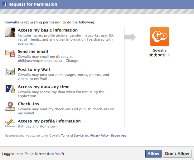 Gowalla wants to access your private Facebook data while you sleep. Spooky.