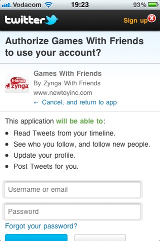 Zynga wants complete control of your Twitter account. Does that feel safe to you?