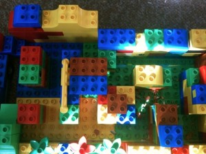 A maze for the hamsters, made of Duplo bricks and viewed from the top