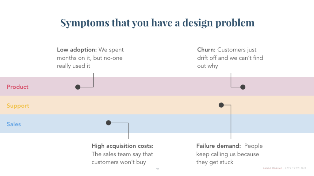 Symptoms that you have a design problem: Low adoption: We spent months on it, but no-one really used it Churn: Customers just drift off and we can't find out why High acquisition costs: The sales team say that customers won't buy Failure demand:  People keep calling us because they get stuck